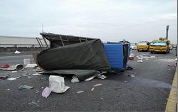 大貨車行經國道3號彰化路段惡意逼車釀小貨車翻覆,造成小貨車駕駛受傷。(國道七隊提供)