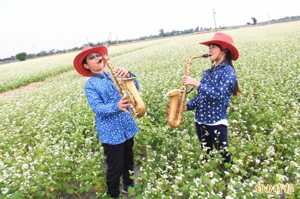 白色蕎麥花田如雪景般浪漫,育德國小學童盡情演奏薩克斯風。(記者陳冠備攝)