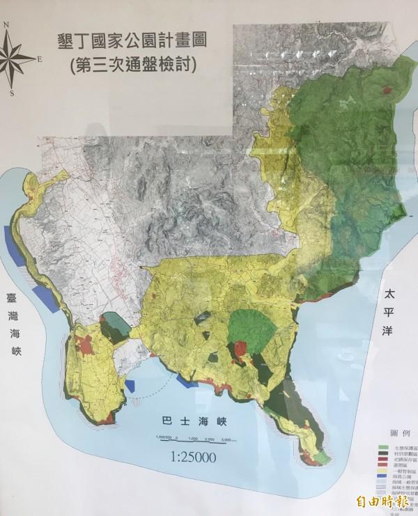 新政策如成功實施,國家公園的敏感區及生態區,有機會從45%提昇至70%。黃色為目前的一般管制區,綠色為敏感區。(記者蔡宗憲攝)