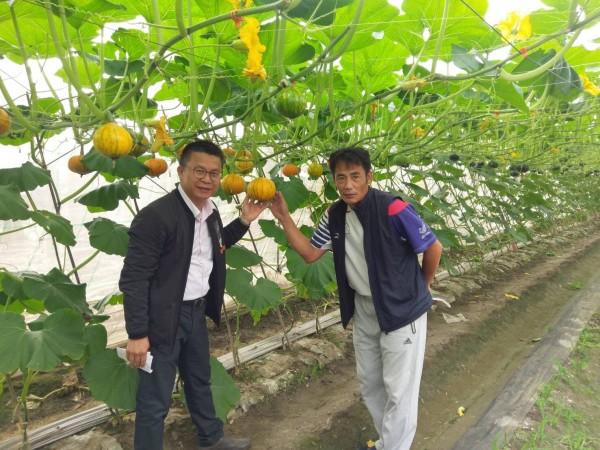 李文修(右)對農業管理有一套。(記者羅欣貞翻攝)