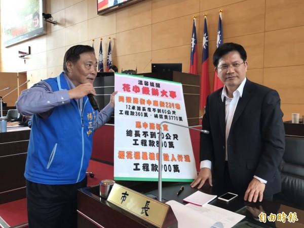 市議員楊正中(左)質疑市府有13項重大建設預算停編,工程一再延宕。(記者黃鐘山攝)