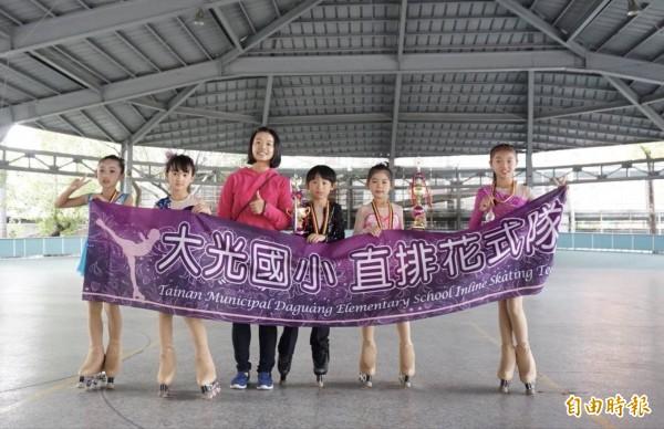 台南市大光國小花式溜冰隊在市長盃花式溜冰錦標賽獲得好成績。(記者劉婉君攝)