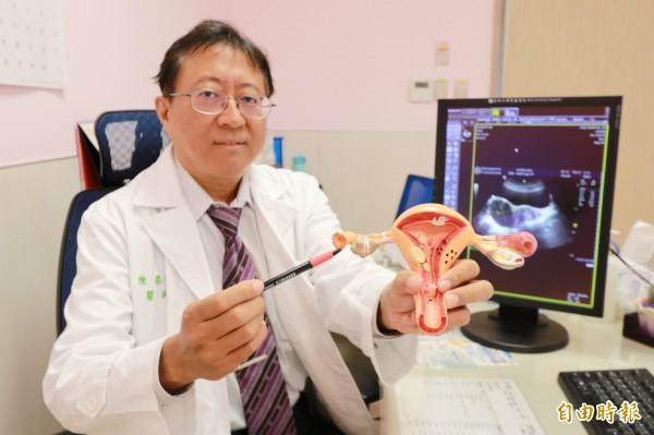 台中一名4歲女童腹痛竟是卵巢畸胎瘤作祟,亞大醫院婦科主任陳泰昌提醒,小女童腹痛千萬不要輕忽。(記者陳建志攝)