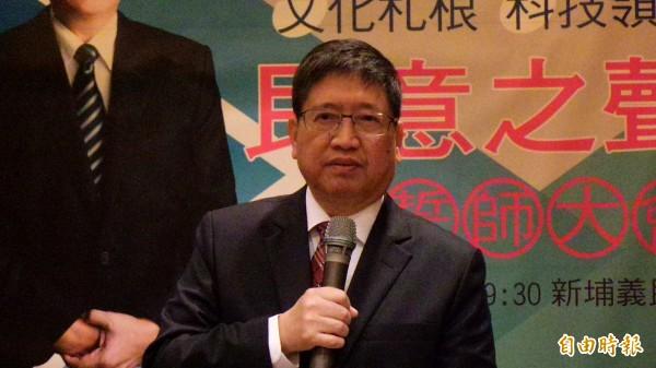 新竹縣副縣長楊文科表示,一旦當選縣長,他將以科技CEO領航者角色,將竹科資源引入各鄉鎮(記者廖雪茹攝)