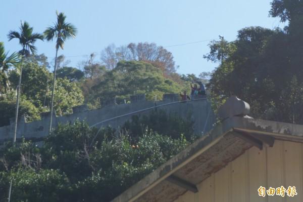 許多民眾站在對面的山坡上拍照及欣賞落羽松美景。(記者歐素美攝)