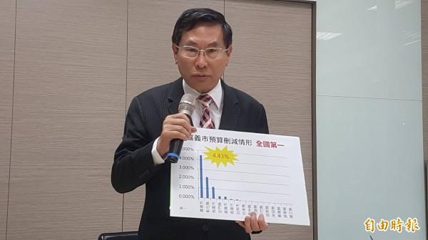 嘉義市長涂醒哲召開記者會表示,針對市府107年度總預算窒礙難行部分,將向議會提覆議。(記者丁偉杰攝)
