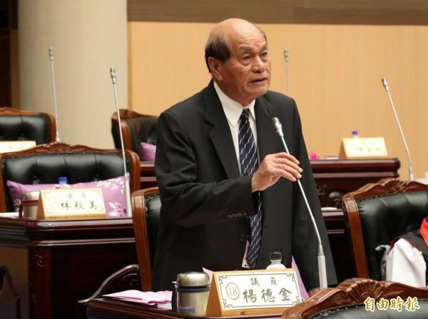 國民黨籍花蓮縣議員楊德金於去年11月的花蓮縣議會定期大會質詢,這也是他最後一次質詢的畫面。(資料照,記者花孟璟攝)