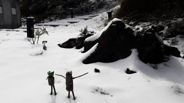 寒流發威,雪霸國家公園裡,海拔不到3000公尺的九九山莊也降雪。(圖由莊主羅海君拍攝,保七第五大隊提供)