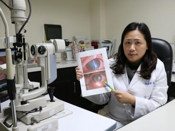 宜蘭縣10歲男童受到安全氣囊猛烈撞擊,男童眼角膜嚴重水腫、左眼球內前房出血。(羅東博愛醫院提供)