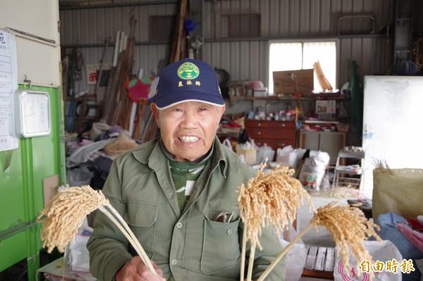 86歲老農郭梓烽在潭大村花海田旁農舍展示稻稈藝術創作,為花海活動增添趣味。(記者曾迺強攝)