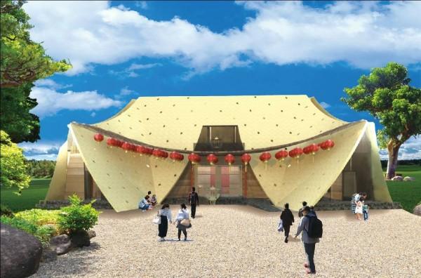 大河里福德祠是全台首創透過國際競圖評選出的「Under a Roof」土地公廟設計。(記者許國楨翻攝)