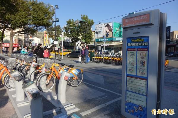 「彰化火車站前站」是彰化YouBike使用人次最高的一站。(記者劉曉欣攝)