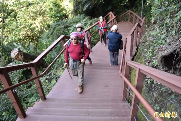 腳力要夠!從角板山公園步行至「新溪口吊橋」售票口付款領票,得步行736個陡峭階梯才能抵達。(記者李容萍攝)