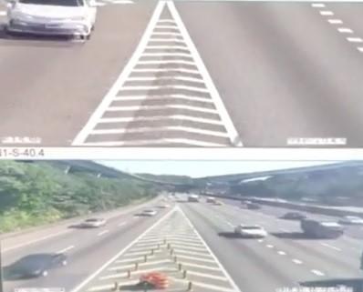 國道一號林口交流道安裝的高解析度攝影機預計今日下午啟用,圖為攝影機即時擷取畫面。(記者曾健銘翻攝)