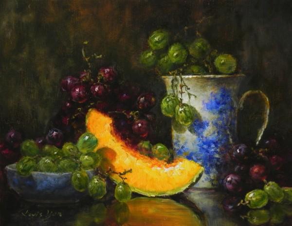透過嚴榮宗的追光畫法,作品中的水果令人垂涎三尺,更能讓觀畫者按照畫的光線,引導賞畫順序。(嚴榮宗提供)