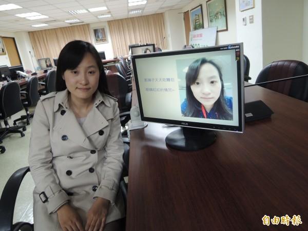 李秘書去年發現角膜破皮、結膜紅腫發炎(右圖)。(記者黃旭磊攝)