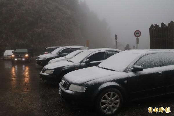 遊客停放在太平山莊外的車輛,覆蓋著瑞雪。(記者林敬倫攝)