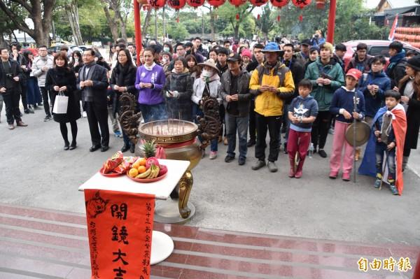 金甘蔗影展今天在興糖福德祠舉行開鏡儀式。(記者蘇福男攝)