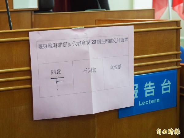 出席的3個鄉民代表全數投下同意票。(記者王秀亭攝)