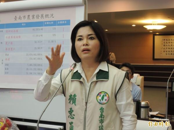 民進黨市議員賴惠員。(記者蔡文居攝)