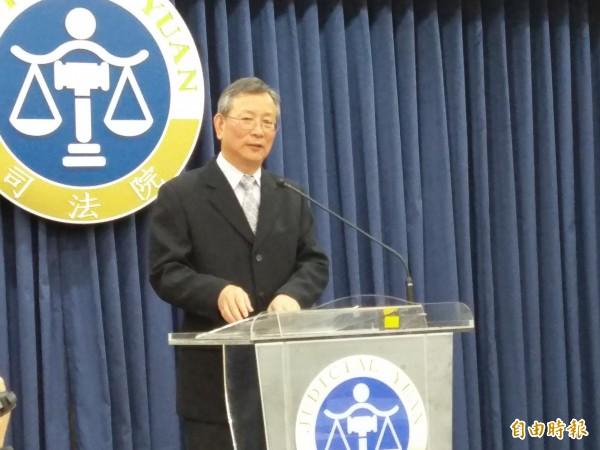 司法院祕書長呂太郎宣布,釋字第761號解釋合憲。(記者項程鎮攝)