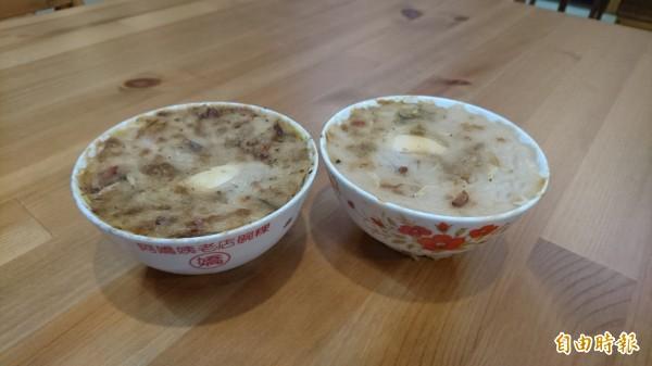 阿嬤的古早瓷碗裝的碗粿。(記者楊金城攝)