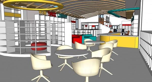 新竹市鹽水圖書分館將進行改善工程,要打開空間,提供更好的閱讀環境與空間,預計5月完工。(示意圖由市府提供)