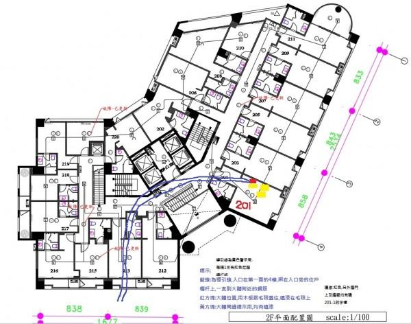 雲門翠堤大樓平面圖中201號房位置。(花蓮縣政府提供)