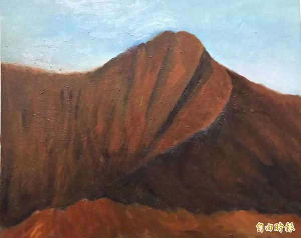 趙宗宋畫的「玉山─對台灣的愛」。(記者陳鳳麗攝)