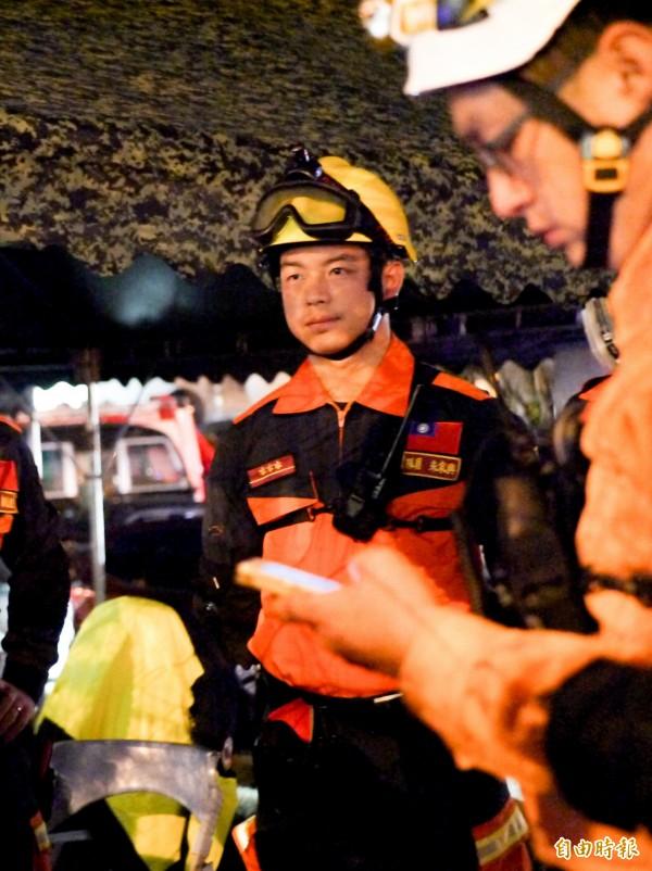 宜蘭消防支援花蓮第五梯次隊員朱家興更是不敢告訴家人他要到花蓮災區救災。(記者簡惠茹攝)