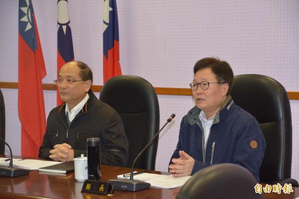 宜蘭縣代理縣長陳金德今在縣府會議宣佈,原BOT案撤銷,改採縣府自辦。(記者游明金攝)