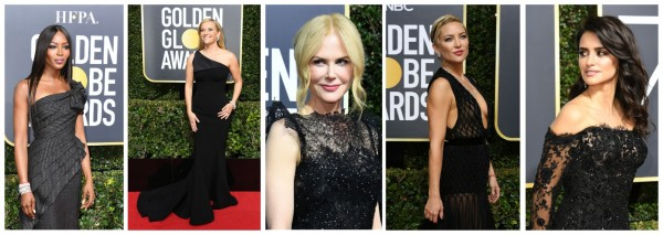 為表示對#MeToo運動的支持,不少影視名流在上月7日的第75屆美國金球獎頒獎典禮上穿黑衣走紅毯,包括(左起)名模娜歐咪坎貝爾、奧斯卡影后瑞絲薇斯朋、奧斯卡影后妮可基嫚、女星凱特哈德森,以及奧斯卡最佳女配角西班牙女星潘妮洛普克魯茲。(法新社)