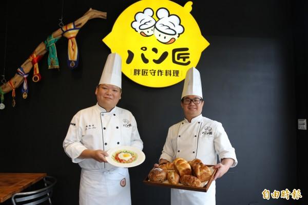 施俊守(左)與倪璽評(右)將五星級料理風格帶到家鄉。(記者邱芷柔攝)