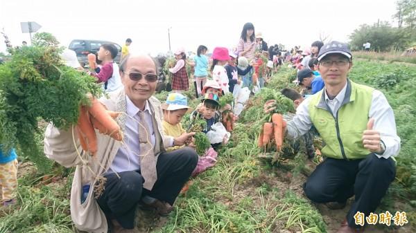 將軍農會總幹事吳明成(左)、漚汪國小校長許德文(右)和學童一起下田拔胡蘿蔔。(記者楊金城攝)