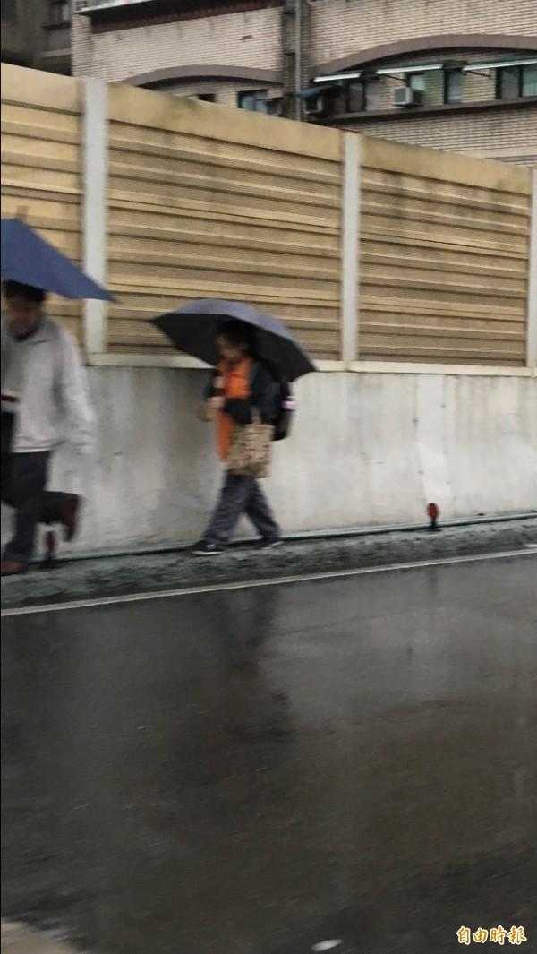 陳姓男子通知拖吊車前來後,與女兒徒步走下東岸高架橋,讓消防員捏把冷汗。(記者林嘉東攝)