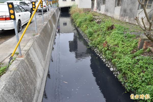 貫穿斗南的義德埤支線疑遭污染溝水變黑且臭味沖天。(記者黃淑莉攝)