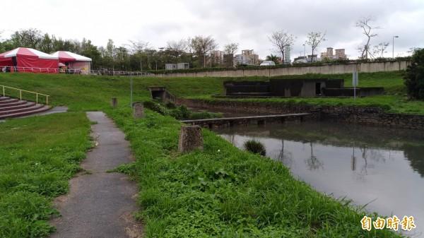 改善南崁溪水質,山尾滯洪池礫間淨化水質工程開工。(記者鄭淑婷攝)