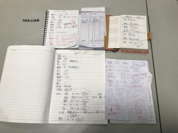 警方查獲的帳冊和派工單據(記者劉慶侯翻攝)