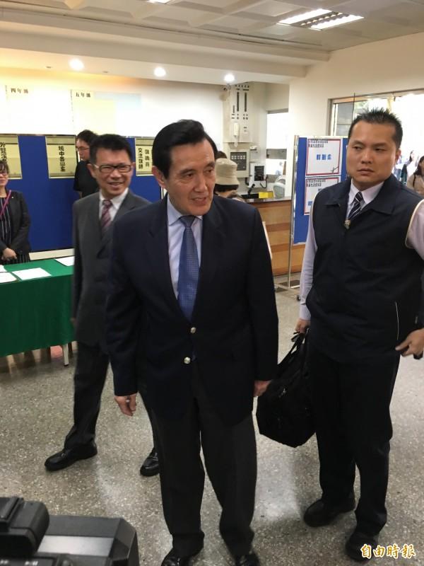 前總統馬英九到東吳大學演講。(記者林良昇攝)