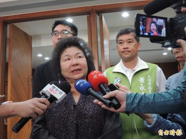 陳菊表示,黨內對她未來動向有很多意見,都很寶貴,她會認真思考。(記者王榮祥攝)