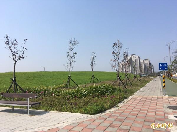 士北科技園區現整地、徵收完畢,目前為一片空曠綠地。(記者蕭婷方攝)