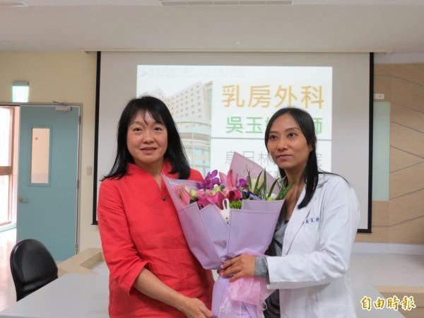 患乳癌二期病患接受個人化治療,乳房其切除部份,目前狀況良好(記者蘇金鳳攝)