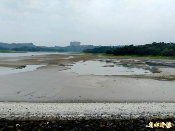 近期降雨偏少,仁義潭水庫的東側露出乾涸潭底。(記者曾迺強攝)