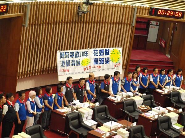 高市議會國民黨團預告,明天將質詢陳菊是否北上?(高雄市議會國民黨團提供)
