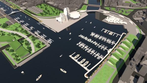亞洲新灣區遊艇碼頭示意圖。(圖:臺灣港務公司提供)
