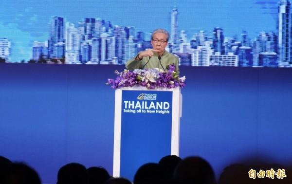 泰國副總理頌奇(Somkid Jatusripitak)強調,泰國只要掌握機會,結合地理優勢,可以讓經濟突飛猛進,擠身成為一流發展國家之列。(記者陳炳宏攝)