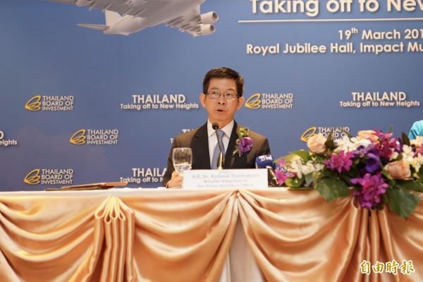 泰國總理室部長庫薩(H.E. Dr.Kobsak Pootrakool)表示,期待導入台灣在食品研發、電子、生技、農業等產業技術。(記者陳炳宏攝)