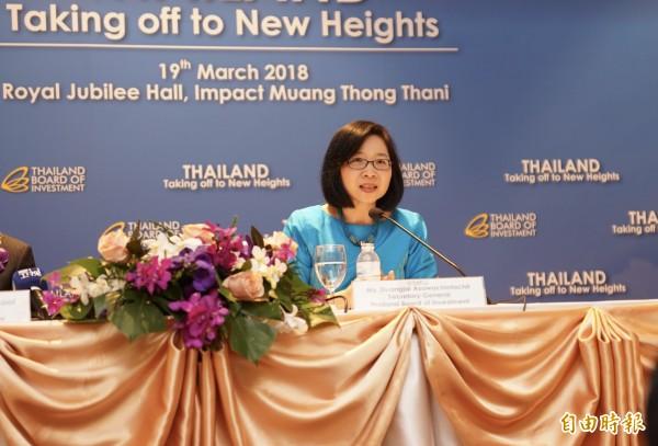 泰國投資促進委員會(BOI)祕書長馬碧雲(Ms. Duangjai Asawachintachit)表示,泰國已經準備好了,要成為東南亞區域中心。(記者陳炳宏攝)