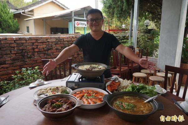 36歲林毅薰學的是土木建築,卻對餐飲料理有興趣。(記者歐素美攝)