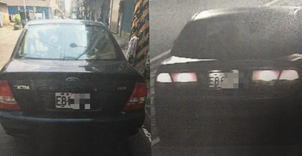 楊姓嫌犯作案後將車牌從F改為E,還是被警方查獲。(記者蘇金鳳翻攝)